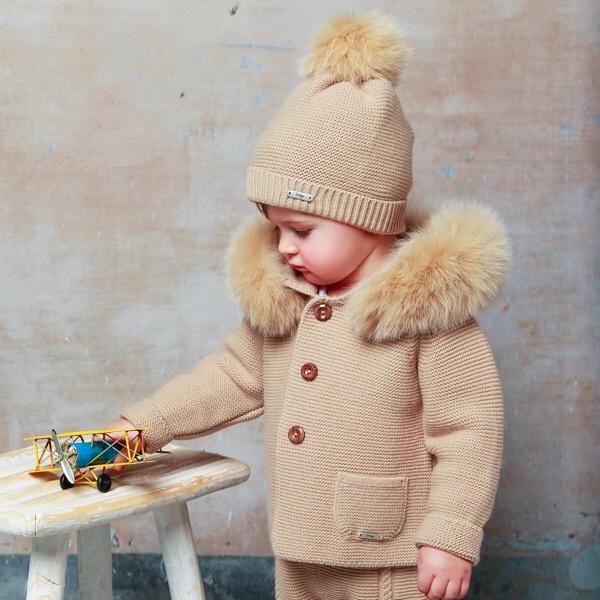 Rahigo Camel Fur Coat & Hat Set