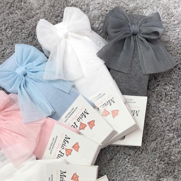 Meia Pata Tulle Bow Socks, White