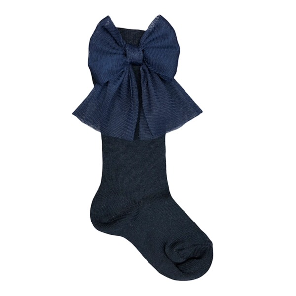 Meia Pata Tulle Bow Socks, Navy