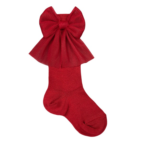 Meia Pata Tulle Bow Socks, Red