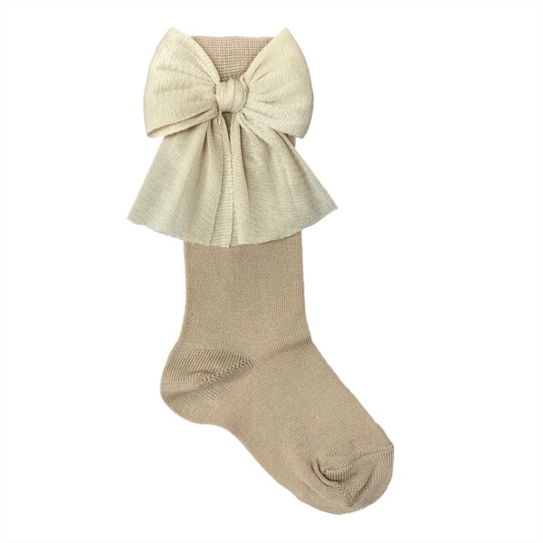 Meia Pata Tulle Bow Socks, Camel